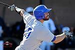 First baseman Brad Zebedis (19) of the Presbyterian College Blue Hose in a game against the University of South Carolina Upstate Spartans on Friday, February, 21, 2014, at Cleveland S. Harley Park in Spartanburg, South Carolina. Presbyterian won, 5-1. (Tom Priddy/Four Seam Images)