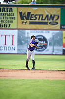 Cristopher Navarro (7) of the Grand Junction Rockies during the game against the Ogden Raptors at Lindquist Field on June 14, 2019 in Ogden, Utah. The Raptors defeated the Rockies 12-0. (Stephen Smith/Four Seam Images)