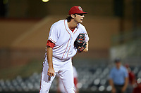 Florida Fire Frogs relief pitcher Chad Sobotka (32) looks in for the sign during a game against the Palm Beach Cardinals on May 1, 2018 at Osceola County Stadium in Kissimmee, Florida.  Florida defeated Palm Beach 3-2.  (Mike Janes/Four Seam Images)