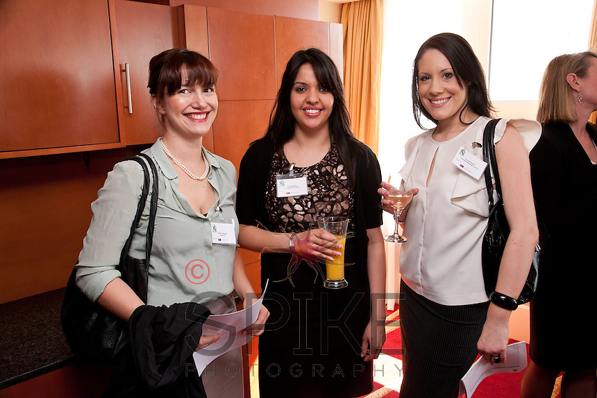 A bit of glamour at the club - from left, Verena Vieregge of The Dairy, PAndeep Bains of JLT Speciality and Chrissie Rowell of Freestyle Marketing