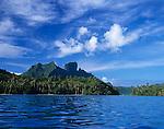 Bora Bora, French Polynesia: Bora Bora's volcanic Mts Hue, Pahia and Otemanu tower above Motu Toopua and blue tropical lagoon