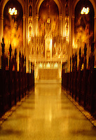 Available from Jeff as a Fine Art Print<br /> <br /> Available for commercial and editorial licensing exclusively from www.gettyimages.com.  Please search for image # 200111760-001<br /> <br /> Interior View of a Catholic Church - Blurred Motion Effect, Upper East Side, New York City, New York State, USA