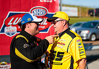 Sep 15, 2019; Mohnton, PA, USA; NHRA top alcohol dragster driver Troy Coughlin Jr celebrates with crew after winning during the Reading Nationals at Maple Grove Raceway. Mandatory Credit: Mark J. Rebilas-USA TODAY Sports