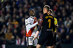 Luis Advincula of Rayo Vallecano talks to goalkeeper Marc-Andre Ter Stegen of FC Barcelona during the La Liga 2018-19 match between Rayo Vallecano and FC Barcelona at Estadio de Vallecas, on November 03 2018 in Madrid, Spain. Photo by Diego Gouto / Power Sport Images
