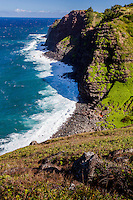 The rugged coastline along the northern shore of West Maui.
