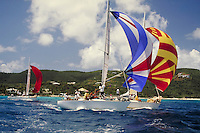 Rolex Regatta 1996 - 3 sailboats under spinnaker in Pillsbury Sound. St Thomas, US Virgin Islands Caribbean.
