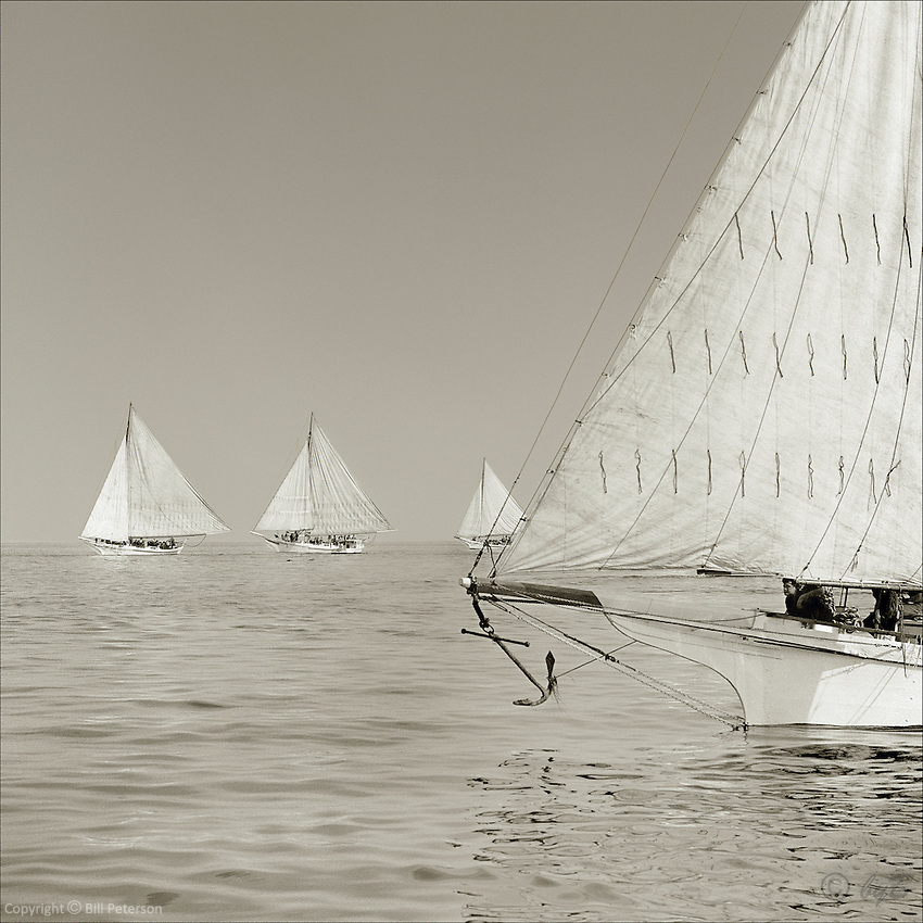 """A sepia memory in nearly perfect harmony on the Chesapeake Bay.  Photograph from the restored Limited Edition Skipjack Fine Art """"Skipjack Sunday"""" collection."""