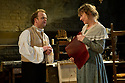 """© Jane Hobson. 13/01/2011. Arcola Theatre reopens in its new venue with """"The Painter"""", by Rebecca Lenkiewicz. Toby Jones as Turner and Niamh Cusack as Sarah Danby. Picture credit should read: Jane Hobson"""