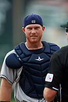 San Antonio Missions catcher Stephen McGee (9) during a game against the Springfield Cardinals on June 4, 2017 at Hammons Field in Springfield, Missouri.  San Antonio defeated Springfield 6-1.  (Mike Janes/Four Seam Images)