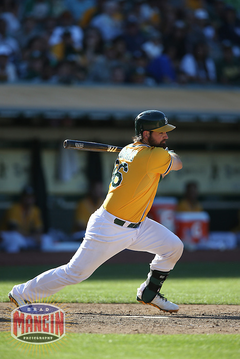 OAKLAND, CA - JUNE 13:  Derek Norris #36 of the Oakland Athletics bats against the New York Yankees during the game at O.co Coliseum on Thursday June 13, 2013 in Oakland, California. Photo by Brad Mangin