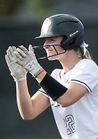 Bentonville shortstop Kenzie Derryberry (22) reacts, Thursday, April 29, 2021 during a softball game at Bentonville High School in Bentonville. Check out nwaonline.com/210430Daily/ for today's photo gallery. <br /> (NWA Democrat-Gazette/Charlie Kaijo)