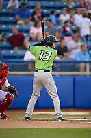 Lynchburg Hillcats right fielder Trenton Brooks (13) at bat during a game against the Salem Red Sox on May 10, 2018 at Haley Toyota Field in Salem, Virginia.  Lynchburg defeated Salem 11-5.  (Mike Janes/Four Seam Images)