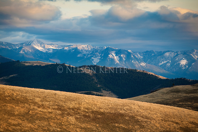 Sunset on the Mission Mountains and foothills in western Montana