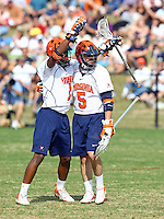 UVa lacrosse players Shamel Bratton and Steve Giannone at the University of Virginia in Charlottesville, Virginia. Photo/Andrew Shurtleff.