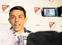Philadelphia, PA - Thursday January 19, 2018: Justin Fiddes during the 2018 MLS SuperDraft at the Pennsylvania Convention Center.