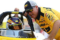 Sep 4, 2017; Clermont, IN, USA; NHRA pro stock driver Jeg Coughlin with wife Samantha Coughlin during the US Nationals at Lucas Oil Raceway. Mandatory Credit: Mark J. Rebilas-USA TODAY Sports
