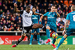 Geoffrey Kondogbia of Valencia CF (L) fights for the ball with Lucas Vazquez of Real Madrid (R) during the La Liga 2017-18 match between Valencia CF and Real Madrid at Estadio de Mestalla  on 27 January 2018 in Valencia, Spain. Photo by Maria Jose Segovia Carmona / Power Sport Images