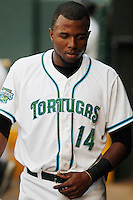 Daytona Tortugas outfielder Junior Arias (14) in the dugout during a game against the Clearwater Threshers at Radiology Associates Field at Jackie Robinson Ballpark on May 9, 2015 in Daytona, Florida. Clearwater defeated Daytona 7-0. (Robert Gurganus/Four Seam Images)