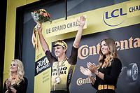 podium with stage winner Dylan Groenewegen (NED/Jumbo Visma) <br /> <br /> Stage 7: Belfort to Chalon-sur-Saône (230km)<br /> 106th Tour de France 2019 (2.UWT)<br /> <br /> ©kramon