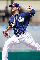 San Antonio Missions pitcher Cory Luebke (22) delivers a pitch to the plate during the Texas League baseball game against the Midland RockHounds on June 28, 2015 at Nelson Wolff Stadium in San Antonio, Texas. The Missions defeated the RockHounds 7-2. (Andrew Woolley/Four Seam Images)