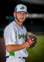 13 June 2018: Vermont Lake Monsters pitcher Brandon Marsonek poses for a portrait on Photo Day at Centennial Field in Burlington, Vermont. The Lake Monsters are the Single-A minor league affiliate of the Oakland Athletics, and play a short season in the NY Penn League Stedler Division. Mandatory Credit: Ed Wolfstein Photo *** RAW (NEF) Image File Available ***