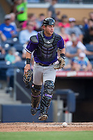 Louisville Bats catcher Julio Morillo (6) chases after a wild pitch during the game against the Durham Bulls at Durham Bulls Athletic Park on August 9, 2015 in Durham, North Carolina.  The Bulls defeated the Bats 9-0.  (Brian Westerholt/Four Seam Images)