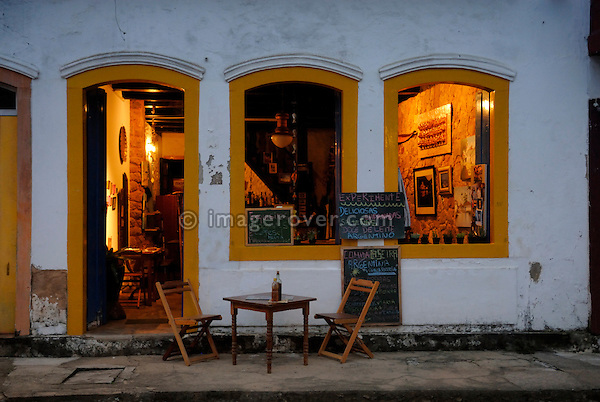 Inviting restaurant in Paraty's historic center; Paraty, Espirito Santo, Brazil. The beautiful colonial town of Paraty has been a UNESCO World Heritage Site since 1958. --- No signed releases available.