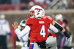 Southern Methodist Mustangs quarterback Matt Davis (4) in action during the game between the South Florida Bulls and the SMU Mustangs at the Gerald J. Ford Stadium in Fort Worth, Texas. SMU leads USF 13 to 0 at halftime.