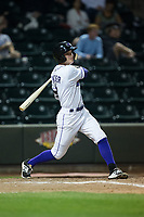 Jake Fincher (3) of the Winston-Salem Dash follows through on his swing against the Myrtle Beach Pelicans at BB&T Ballpark on May 11, 2017 in Winston-Salem, North Carolina.  The Pelicans defeated the Dash 9-7.  (Brian Westerholt/Four Seam Images)