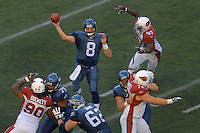 Sep 25, 2005; Seattle, WA, USA; Seattle Seahawks quarterback #8 Matt Hasselbeck passes the ball against the Arizona Cardinals in the third quarter at Qwest Field. Mandatory Credit: Photo By Mark J. Rebilas