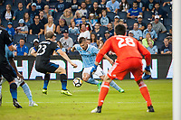 Kansas City, KS - Wednesday August 9, 2017: Florian Jungwirth, Diego Rubio during a Lamar Hunt U.S. Open Cup Semifinal match between Sporting Kansas City and the San Jose Earthquakes at Children's Mercy Park.