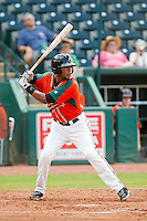 Rehiner Cordova (1) of the Greensboro Grasshoppers at bat against the Augusta GreenJackets at NewBridge Bank Park on August 11, 2013 in Greensboro, North Carolina.  The GreenJackets defeated the Grasshoppers 6-5 in game one of a double-header.  (Brian Westerholt/Four Seam Images)