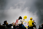 Young fans watch the race go by during Stage 2 of the 2021 Tour de France, running 183.5km from Perros-Guirec to Mur-de-Bretagne Guerledan, France. 27th June 2021.  <br /> Picture: A.S.O./Pauline Ballet   Cyclefile<br /> <br /> All photos usage must carry mandatory copyright credit (© Cyclefile   A.S.O./Pauline Ballet)