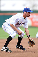 Buffalo Bisons third baseman Michael Fisher #18 in the field during a game against the Charlotte Knights at Dunn Tire Park on May 22, 2011 in Buffalo, New York.  Buffalo defeated Charlotte by the score of 7-5.  Photo By Mike Janes/Four Seam Images