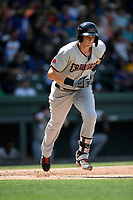 Sam Huff (25) of the Hickory Crawdads runs out a batted ball in a game against the Greenville Drive on Tuesday, April 30, 2019, at Fluor Field at the West End in Greenville, South Carolina. Hickory won, 5-4. (Tom Priddy/Four Seam Images)