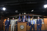 United States House Minority Leader Kevin McCarthy (Republican of California) speaks at a hastily called press conference to announce he was pulling his selections for for the January 6 Commission in the US Capitol in Washington, DC on Wednesday, July 21, 2021.<br /> Credit: Rod Lamkey / CNP /MediaPunch