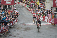 Belgians Greg Van Avermaet (BEL/BMC) & Tim Wellens (BEL/Lotto-Soudal) cross the finish line in the Piazza Del Campo / Siena as 2nd & 3rd and thus complete the podium behind race winner Kwiatkowski<br /> <br /> 11th Strade Bianche 201711th Strade Bianche 2017