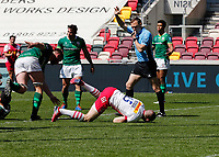 24th April 2021; Brentford Community Stadium, London, England; Gallagher Premiership Rugby, London Irish versus Harlequins; Mike Brown of Harlequins goes over the line and scores a try