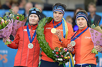 SCHAATSEN: AMSTERDAM: Olympisch Stadion, 11-03-2018, WK Allround, Coolste Baan van Nederland, Final Podium Men, Sverre Lunde Pedersen (NOR), Patrick Roest (NED), Marcel Bosker (NED), ©foto Martin de Jong