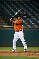 Bowie Baysox Carlos Perez (24) at bat during an Eastern League game against the Richmond Flying Squirrels on August 15, 2019 at Prince George's Stadium in Bowie, Maryland.  Bowie defeated Richmond 4-3.  (Mike Janes/Four Seam Images)