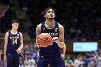 DUKE, NC - FEBRUARY 15: Prentiss Hubb #3 of the University of Notre Dame shoots a free throw during a game between Notre Dame and Duke at Cameron Indoor Stadium on February 15, 2020 in Duke, North Carolina.