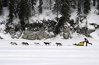 Mitch Seavey on Fish River After Leaving White Mt.<br /> 2004 Iditarod