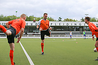 referee Tom Stevens with assistant referee Bryan Bijnens and Tom Dillen pictured during the warming up of a female soccer game between Oud Heverlee Leuven and AA Gent Ladies on the 9 th matchday of play off 1 in the 2020 - 2021 season of Belgian Womens Super League , saturday 22 nd of May 2021  in Heverlee , Belgium . PHOTO SPORTPIX.BE | SPP | SEVIL OKTEM