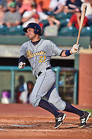 Montgomery Biscuits catcher Luke Maile #21 swings at a pitch during the Southern League All Star game at AT&T Field on June 17, 2014 in Chattanooga, Tennessee. The Southern Division defeated the Northern Division 6-4. (Tony Farlow/Four Seam Images)