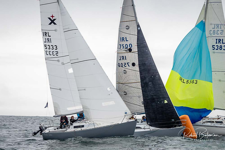 Quarter Tonner SuperNova (IRL7500) rounds a mark inside Fiona Young's Albin Express North Star in the fourth weekend of racing in the AIB Autumn League at Royal Cork Yacht Club. After six races sailed North Star is second and SuperNova third in IRC Spinnaker Division Two.