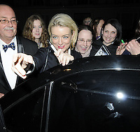 "SHERIDAN SMITH .Departed after the first preview performance of ""Flare Path"", Haymarket, London, England, UK, 4th March 2011..portrait headshot pen gesture fans  black  hand .CAP/CAN.©Can Nguyen/Capital Pictures."