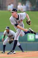Starting pitcher Wes Parsons (30) of the Rome Braves in a game against the Greenville Drive on Thursday, August 22, 2013, at Fluor Field at the West End in Greenville, South Carolina. Rome won, 7-3. (Tom Priddy/Four Seam Images)