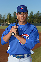 Chicago Cubs shortstop Gleyber Torres (4) poses for a photo before an Instructional League game against the San Francisco Giants on October 18, 2013 at Giants Baseball Complex in Phoenix, Arizona.  (Mike Janes/Four Seam Images)