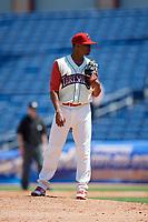 Clearwater Threshers relief pitcher Felix Paulino (37) looks in for the sign during a game against the Jupiter Hammerheads on April 11, 2018 at Spectrum Field in Clearwater, Florida.  Jupiter defeated Clearwater 6-4.  (Mike Janes/Four Seam Images)