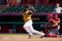 Erie SeaWolves Corey Joyce (11) bats during a game against the Harrisburg Senators on September 5, 2021 at UPMC Park in Erie, Pennsylvania.  (Mike Janes/Four Seam Images)
